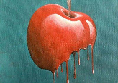 Maleri af rødt, dryppende æble