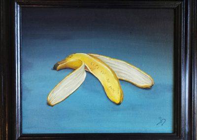 Maleri af bananskræl med teksten ceci n'est pas une pipe