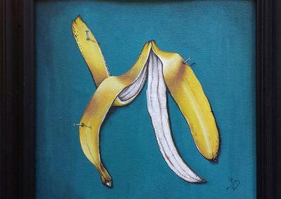 Maleri af bananskræl der sidder sømmet fast