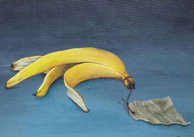 Maleri af bananskræl med en snor med seddel