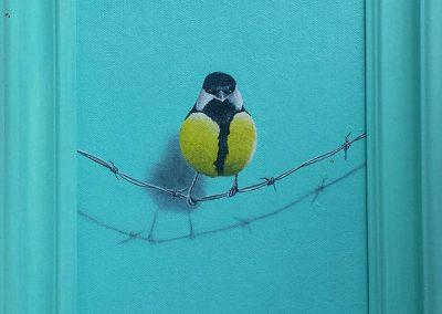 Maleri af en fugl på wire