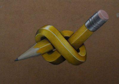 Maleri af krøllet gul blyant