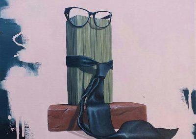 Maleri af briller og slips og mursten