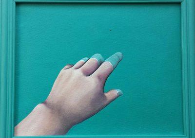 Maleri af en hånd og finger der peger