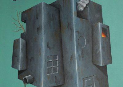 Maleri af flyvende hus med gren og ild