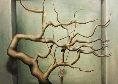Maleri 3D af gren med nøgle