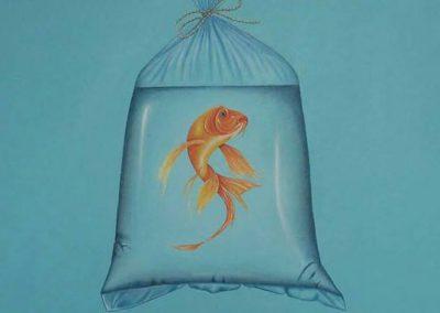 Maleri af guldfisk i pose