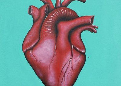 Maleri af et rødt hjerte på grøn baggrund