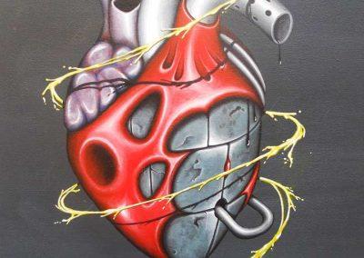Maleri af et hjerte af metal