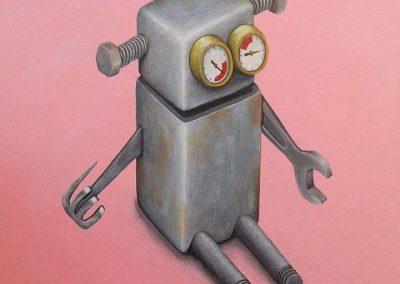 Maleri af en sød robot