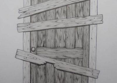 Tegning af en dør med brædder for