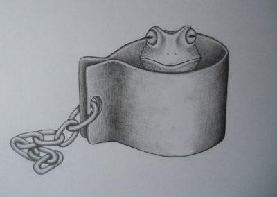 Tegning af en frø i lænker