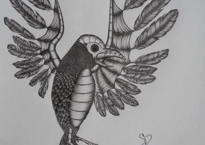 Tegning af en fugleengel
