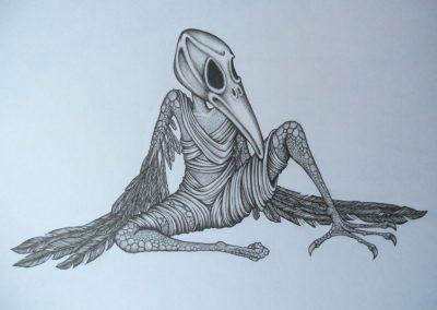 Tegning af en fuglemand med skarpe klør