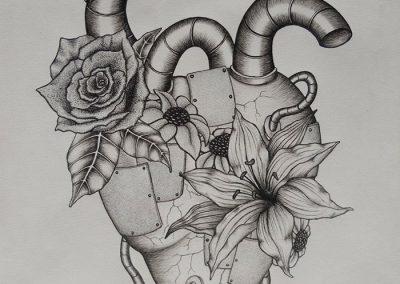 Tegning af et hjerte med blomster