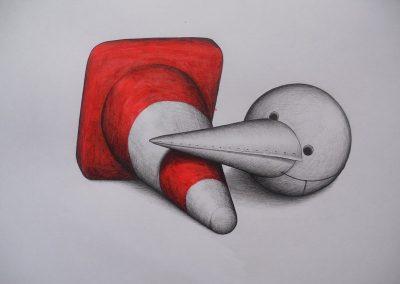 Tegning af en kegle og en fugl der ligner en kegle