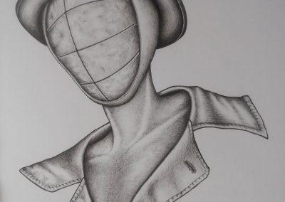 Tegning af en mand med hat uden ansigt